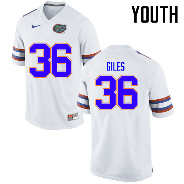 Youth Florida Gators #36 Eddie Giles College Football Jerseys Sale-White
