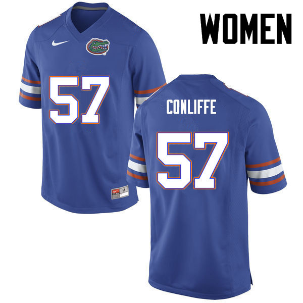 Women Florida Gators #57 Elijah Conliffe College Football Jerseys-Blue