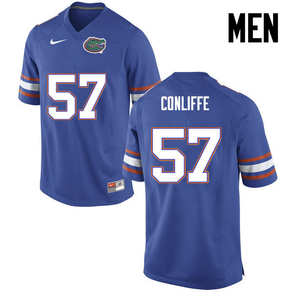 Men Florida Gators #57 Elijah Conliffe College Football Jerseys-Blue