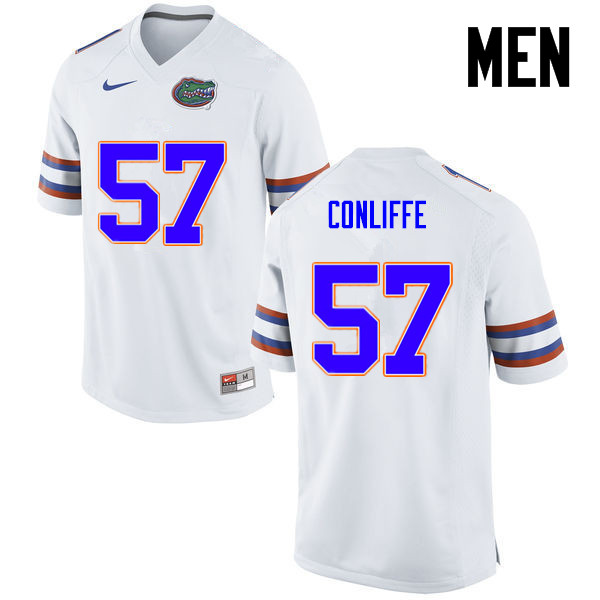 Men Florida Gators #57 Elijah Conliffe College Football Jerseys-White