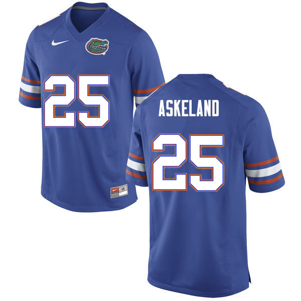 Men #25 Erik Askeland Florida Gators College Football Jerseys Sale-Blue
