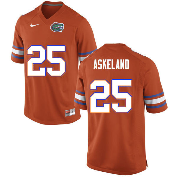 Men #25 Erik Askeland Florida Gators College Football Jerseys Sale-Orange