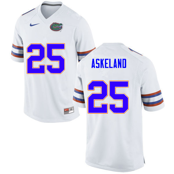 Men #25 Erik Askeland Florida Gators College Football Jerseys Sale-White