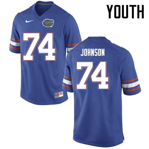 Youth Florida Gators #74 Fred Johnson College Football Jerseys Sale-Blue