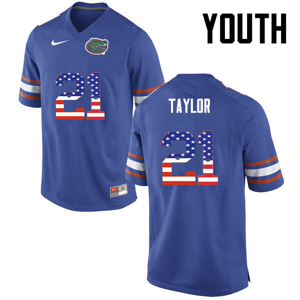 Youth Florida Gators #21 Fred Taylor College Football USA Flag Fashion Jerseys-Blue