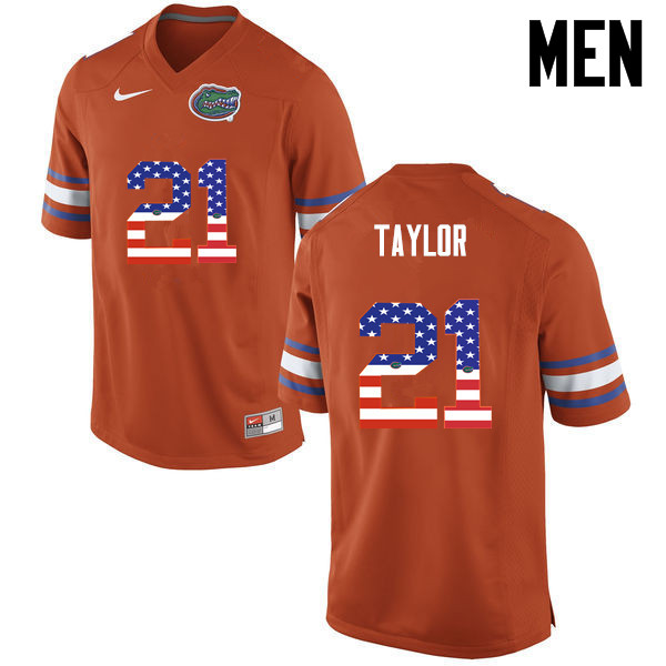 Men Florida Gators #21 Fred Taylor College Football USA Flag Fashion Jerseys-Orange