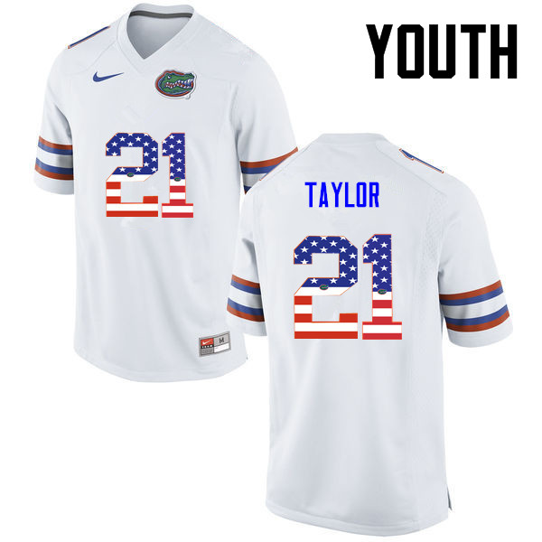 Youth Florida Gators #21 Fred Taylor College Football USA Flag Fashion Jerseys-White