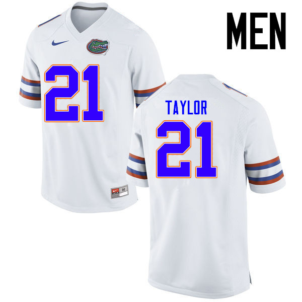 Men Florida Gators #21 Fred Taylor College Football Jerseys Sale-White