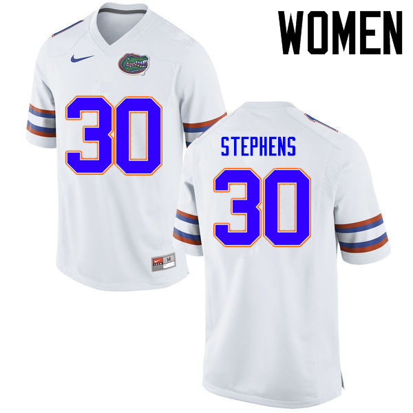 Women Florida Gators #30 Garrett Stephens College Football Jerseys Sale-White