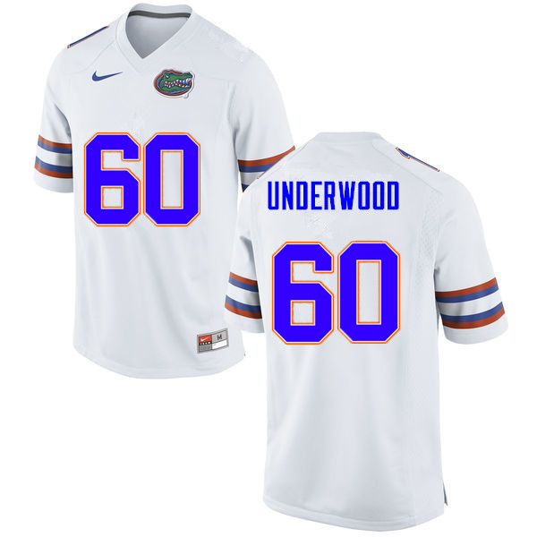 Men #60 Houston Underwood Florida Gators College Football Jerseys Sale-White