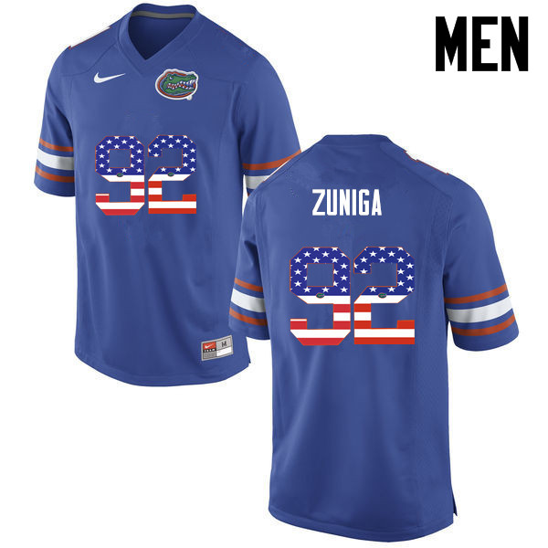 Men Florida Gators #92 Jabari Zuniga College Football USA Flag Fashion Jerseys-Blue