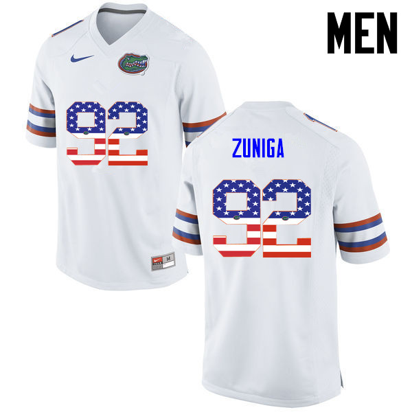 Men Florida Gators #92 Jabari Zuniga College Football USA Flag Fashion Jerseys-White