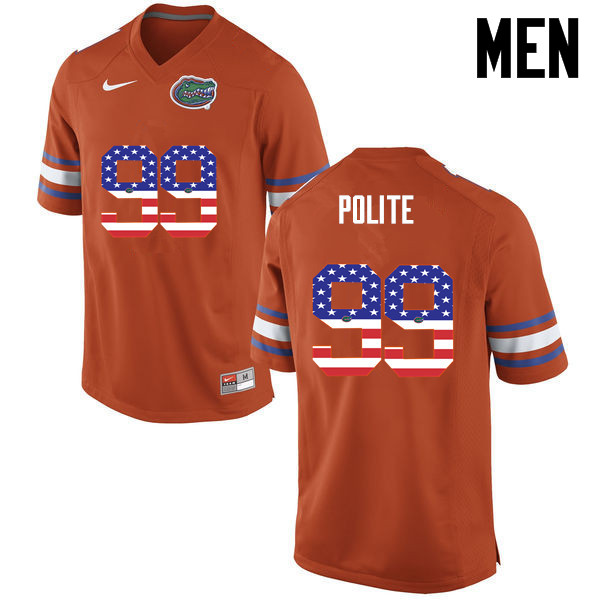 Men Florida Gators #99 Jachai Polite College Football USA Flag Fashion Jerseys-Orange