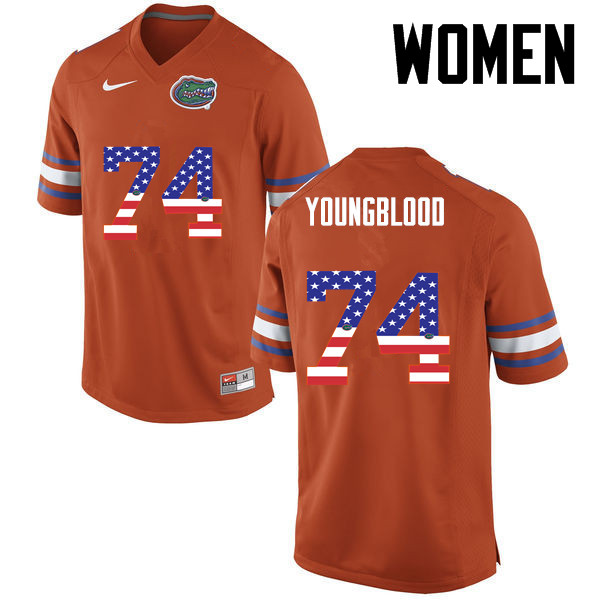 Women Florida Gators #74 Jack Youngblood College Football USA Flag Fashion Jerseys-Orange