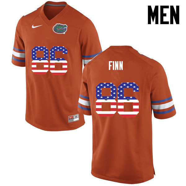 Men Florida Gators #86 Jacob Finn College Football USA Flag Fashion Jerseys-Orange