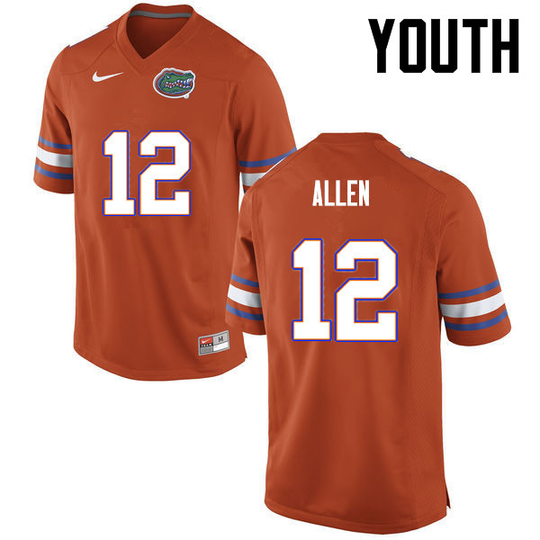 Youth Florida Gators #12 Jake Allen College Football Jerseys-Orange