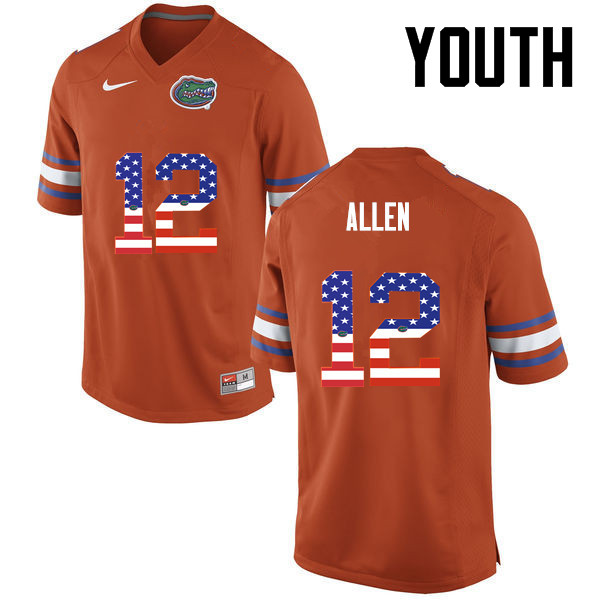 Youth Florida Gators #12 Jake Allen College Football USA Flag Fashion Jerseys-Orange