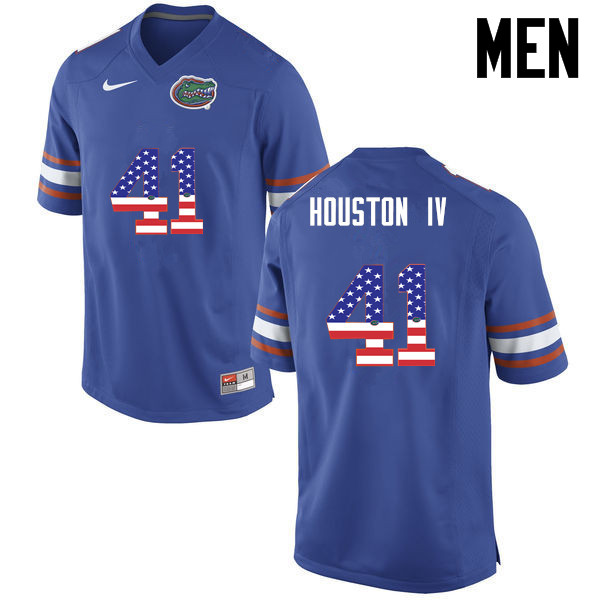Men Florida Gators #41 James Houston IV College Football USA Flag Fashion Jerseys-Blue
