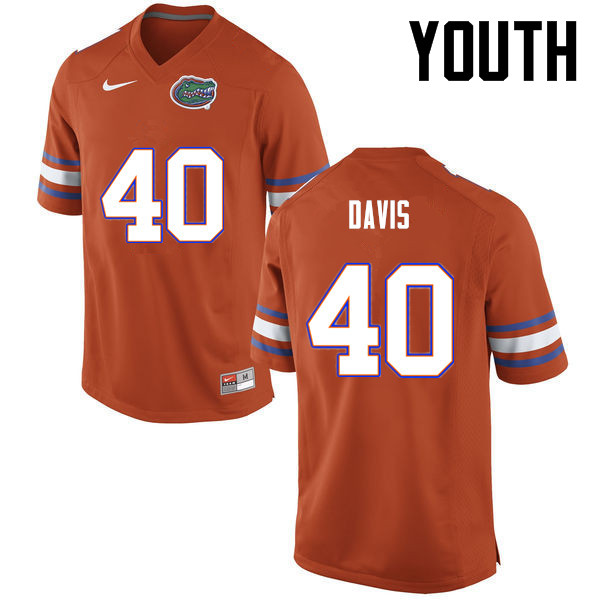 Youth Florida Gators #40 Jarrad Davis College Football Jerseys-Orange