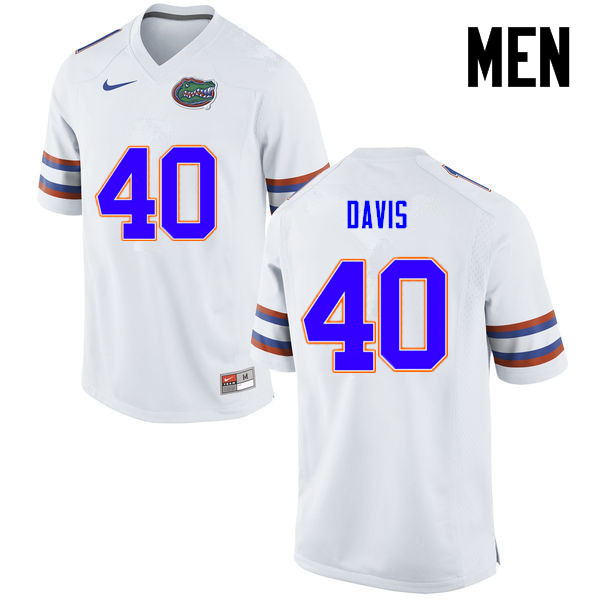 Men Florida Gators #40 Jarrad Davis College Football Jerseys-White