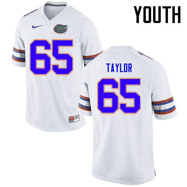 Youth Florida Gators #65 Jawaan Taylor College Football Jerseys Sale-White