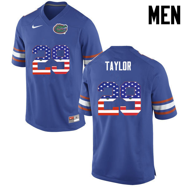 Men Florida Gators #29 Jeawon Taylor College Football USA Flag Fashion Jerseys-Blue