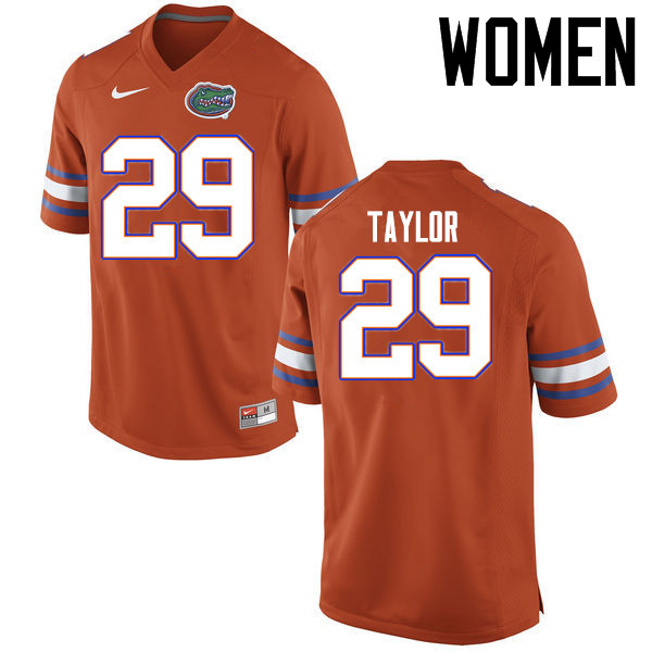 Women Florida Gators #29 Jeawon Taylor College Football Jerseys Sale-Orange