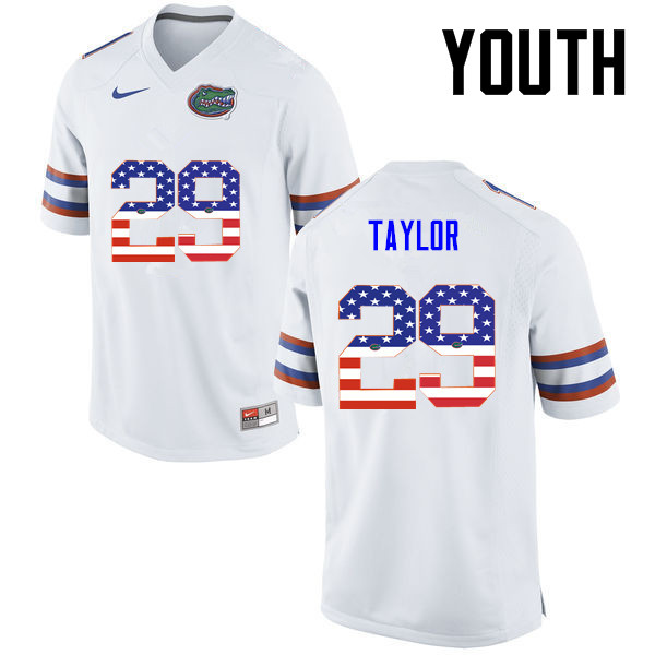 Youth Florida Gators #29 Jeawon Taylor College Football USA Flag Fashion Jerseys-White