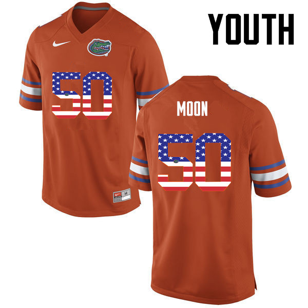 Youth Florida Gators #50 Jeremiah Moon College Football USA Flag Fashion Jerseys-Orange