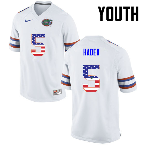 Youth Florida Gators #5 Joe Haden College Football USA Flag Fashion Jerseys-White - Click Image to Close