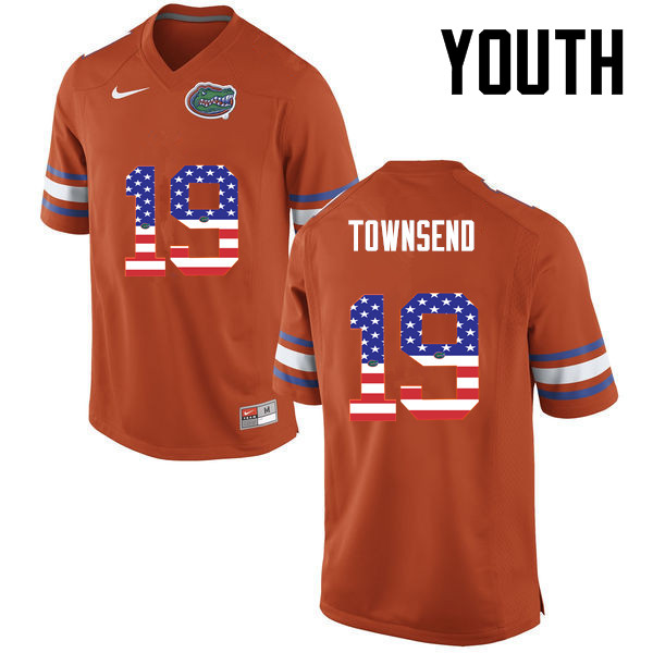 Youth Florida Gators #19 Johnny Townsend College Football USA Flag Fashion Jerseys-Orange