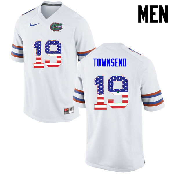 Men Florida Gators #19 Johnny Townsend College Football USA Flag Fashion Jerseys-White