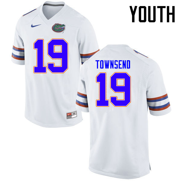 Youth Florida Gators #19 Johnny Townsend College Football Jerseys Sale-White