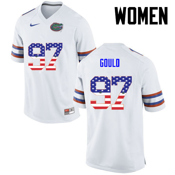 Women Florida Gators #97 Jon Gould College Football USA Flag Fashion Jerseys-White
