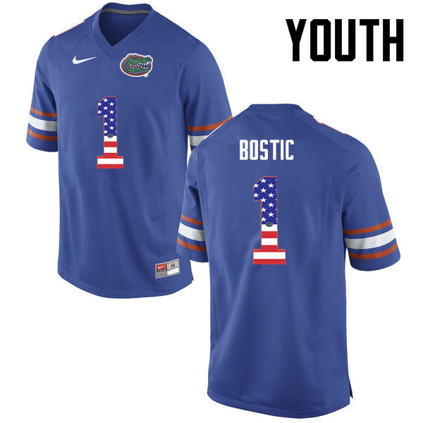 Youth Florida Gators #1 Jonathan Bostic College Football USA Flag Fashion Jerseys-Blue