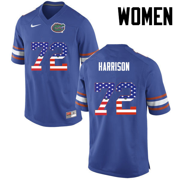 Women Florida Gators #72 Jonotthan Harrison College Football USA Flag Fashion Jerseys-Blue