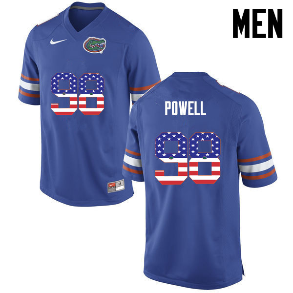 Men Florida Gators #98 Jorge Powell College Football USA Flag Fashion Jerseys-Blue