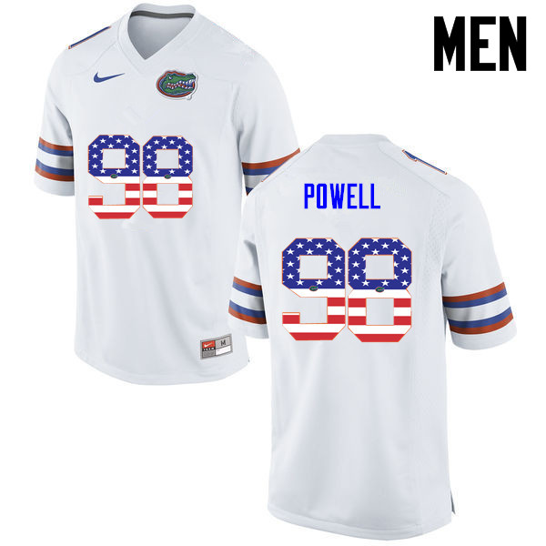 Men Florida Gators #98 Jorge Powell College Football USA Flag Fashion Jerseys-White