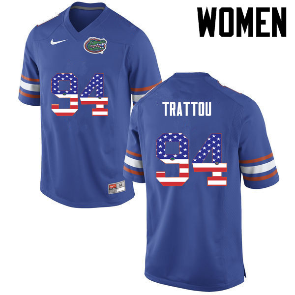 Women Florida Gators #94 Justin Trattou College Football USA Flag Fashion Jerseys-Blue