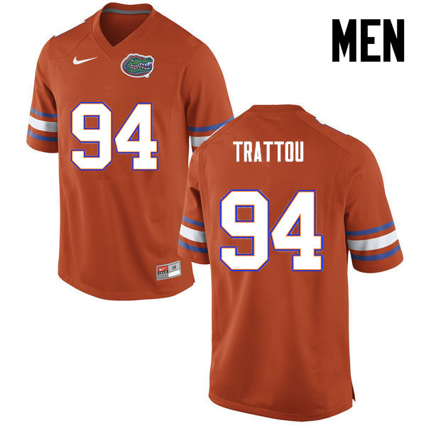 Men Florida Gators #94 Justin Trattou College Football Jerseys-Orange