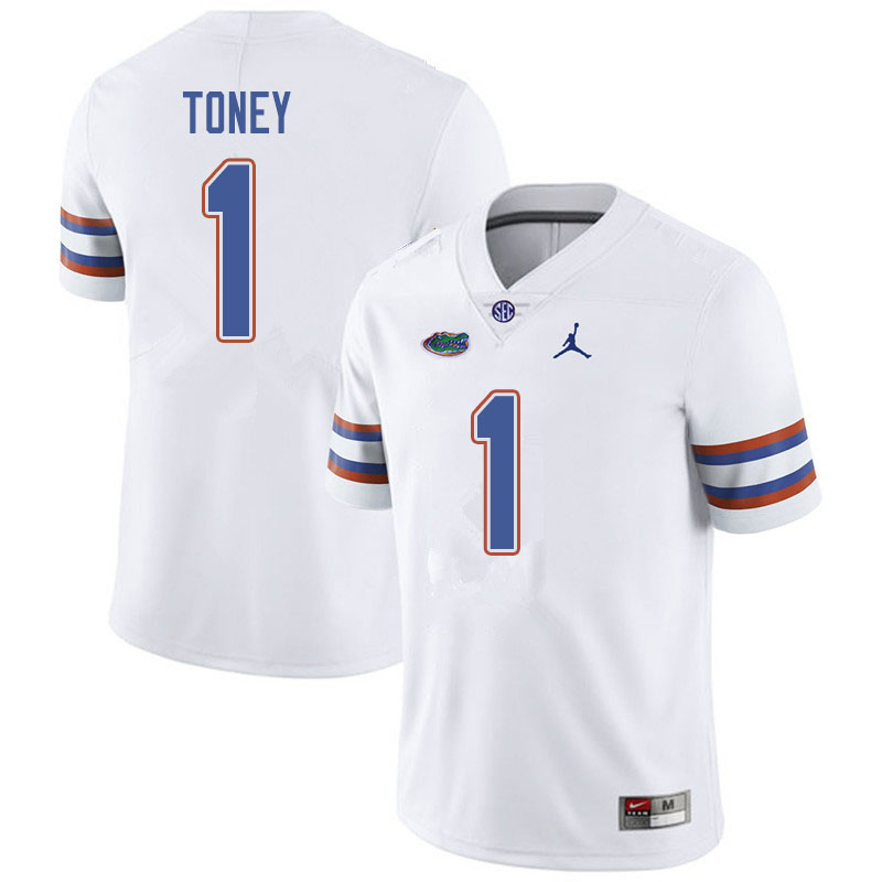 Jordan Brand Men #1 Kadarius Toney Florida Gators College Football Jerseys Sale-White