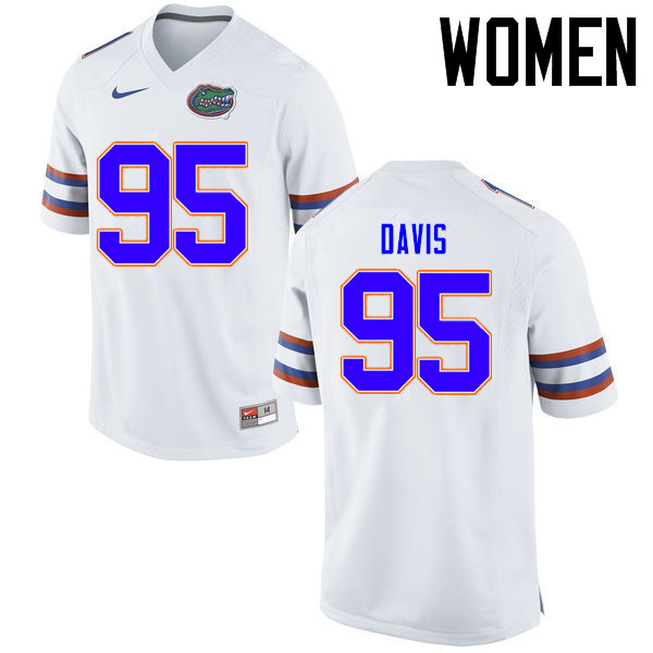 Women Florida Gators #95 Keivonnis Davis College Football Jerseys Sale-White