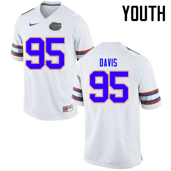 Youth Florida Gators #95 Keivonnis Davis College Football Jerseys Sale-White