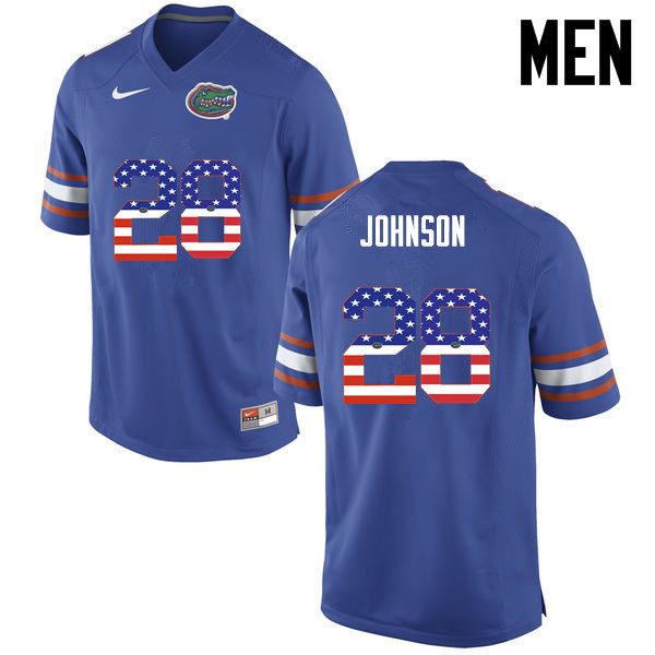 Men Florida Gators #28 Kylan Johnson College Football USA Flag Fashion Jerseys-Blue