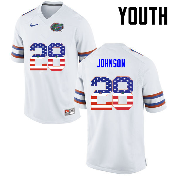 Youth Florida Gators #28 Kylan Johnson College Football USA Flag Fashion Jerseys-White