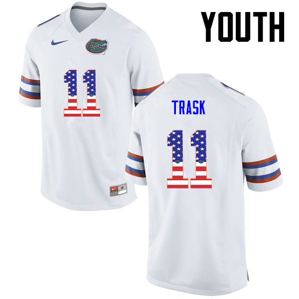 Youth Florida Gators #11 Kyle Trask College Football USA Flag Fashion Jerseys-White