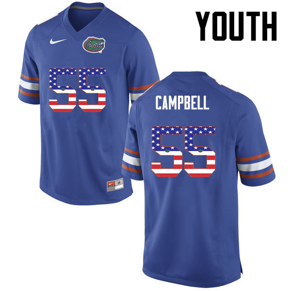 Youth Florida Gators #55 Kyree Campbell College Football USA Flag Fashion Jerseys-Blue