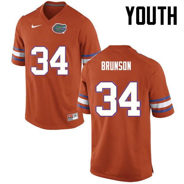 Youth Florida Gators #34 Lacedrick Brunson College Football Jerseys-Orange