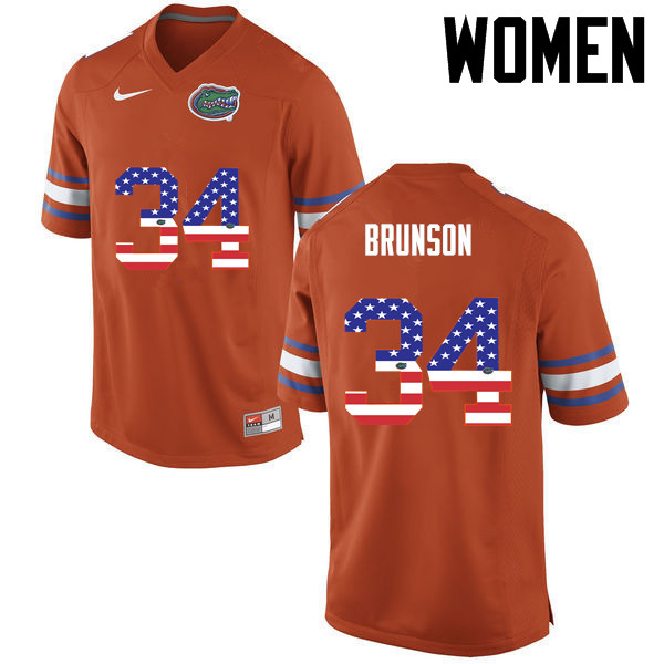 Women Florida Gators #34 Lacedrick Brunson College Football USA Flag Fashion Jerseys-Orange