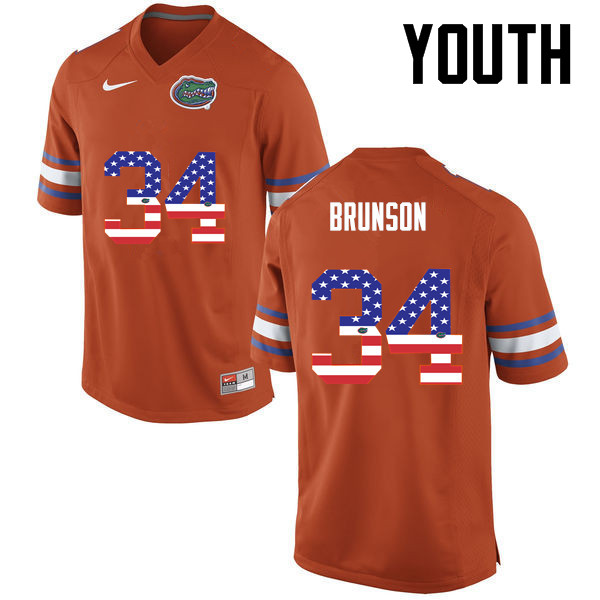 Youth Florida Gators #34 Lacedrick Brunson College Football USA Flag Fashion Jerseys-Orange